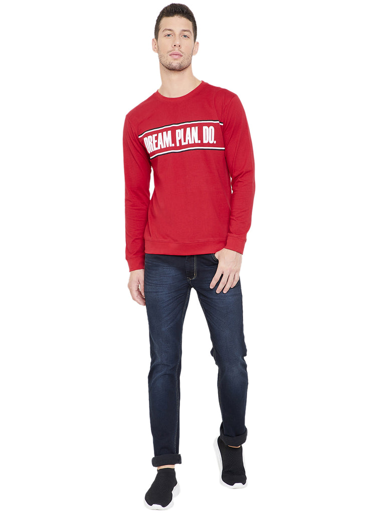 Red Men Full Sleeves Printed Round Neck T-Shirt
