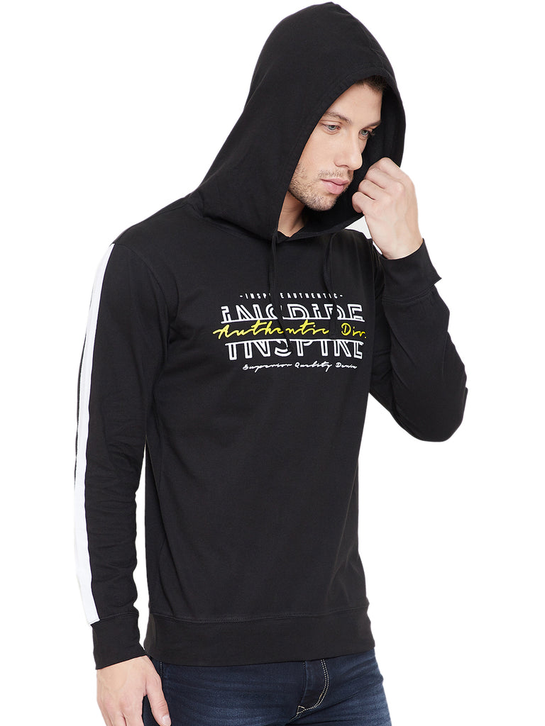 Black/White Men Full Sleeves Hooded T-Shirt