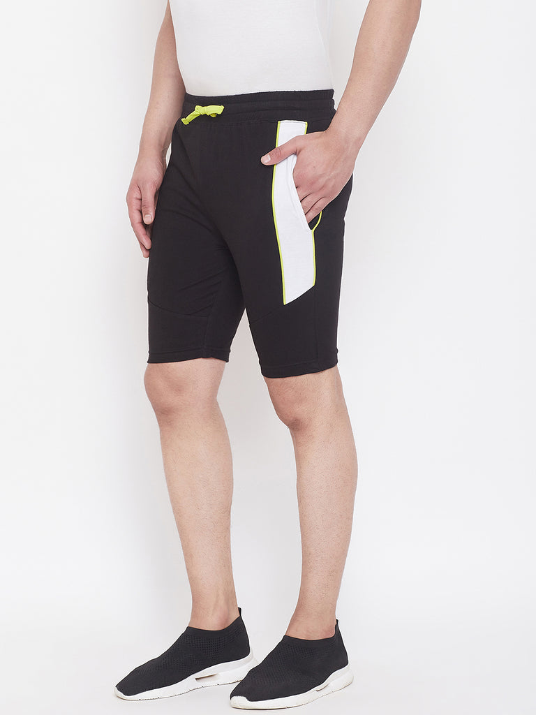 Black/White Men'S Color Block Shorts