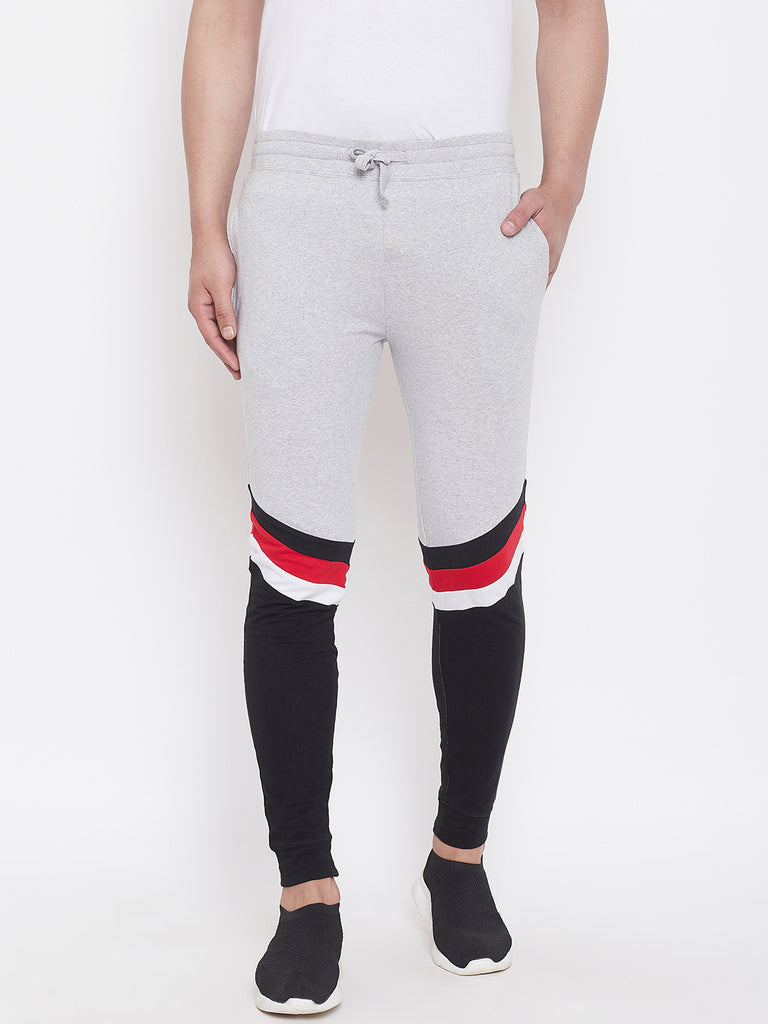 Grey Melange/Black/White/Red Mid - Rise Slim Fit Joggers With Color Block
