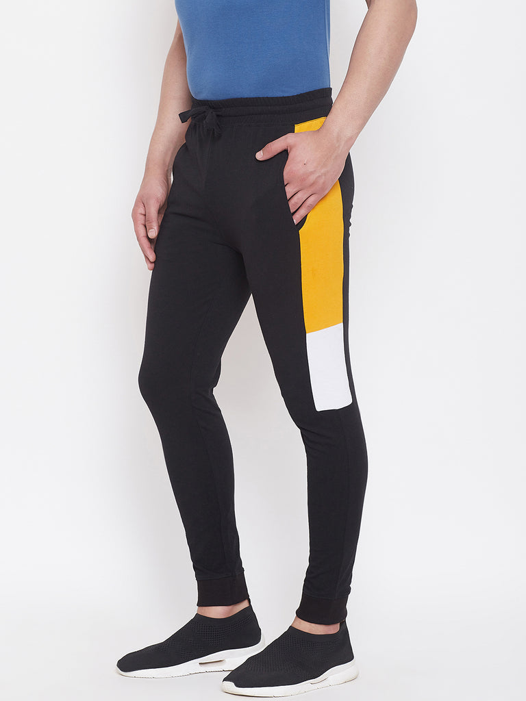 Black/Yellow/White Mid - Rise Slim Fit Joggers With Color Block