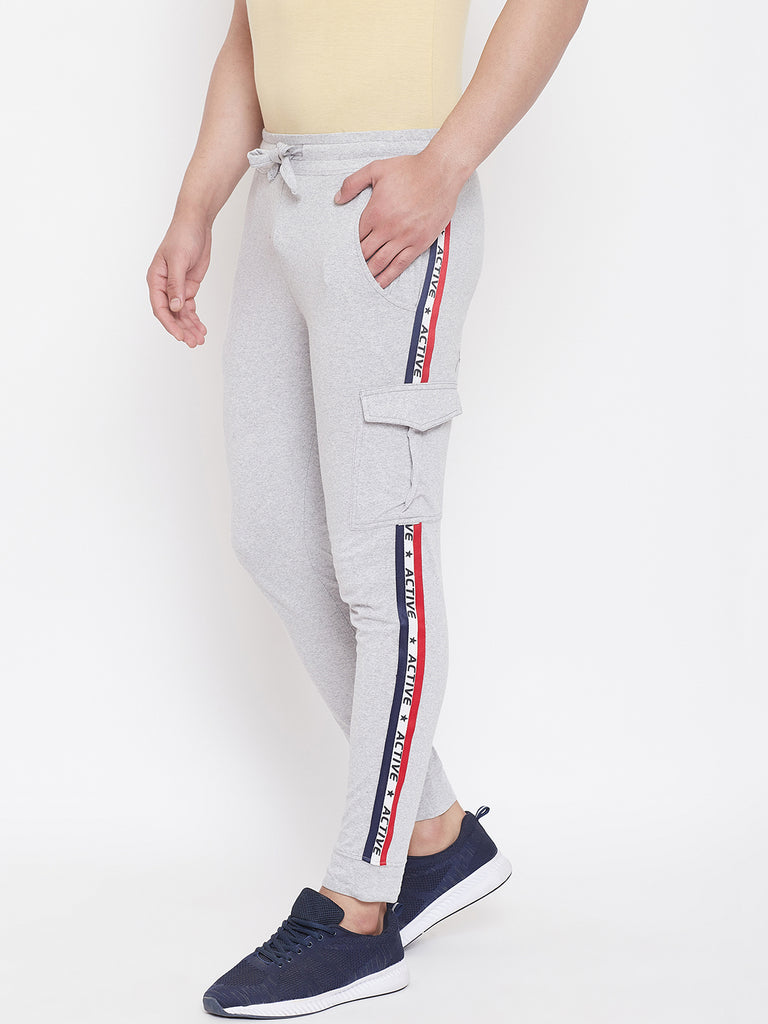 Grey Melange Mid - Rise Slim Fit Joggers With Contrast Taping