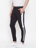 Black/White Mid - Rise Slim Fit Joggers With Color Block