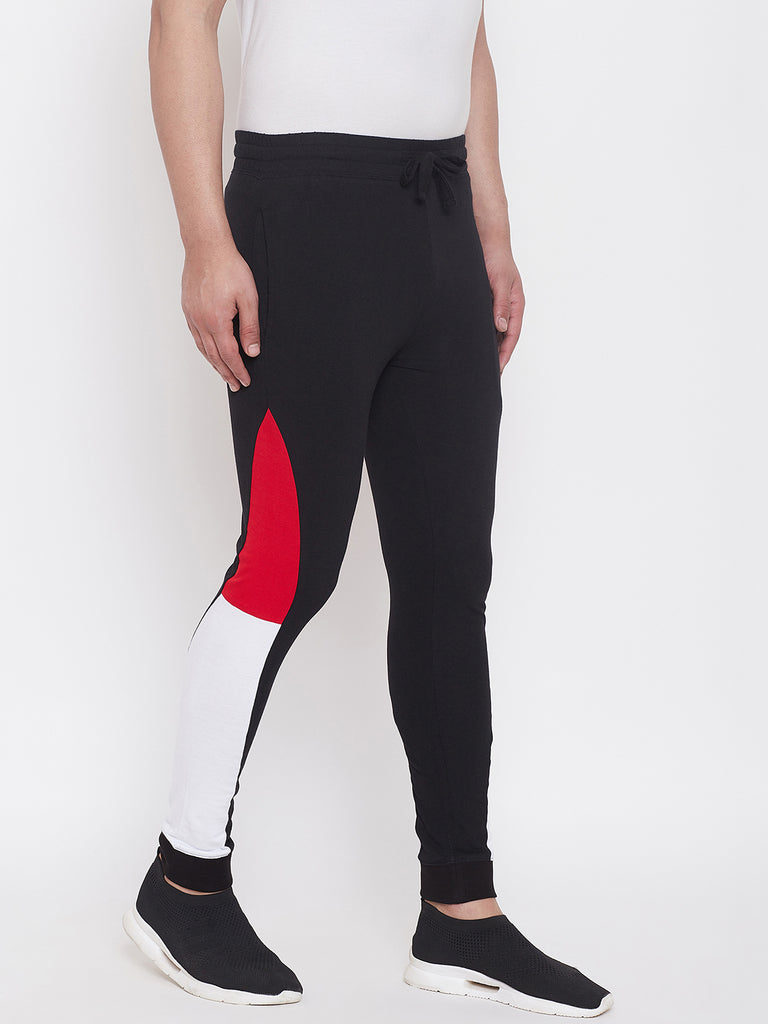 Black/Red/White Men'S Slim Fit Joggers With Color Block