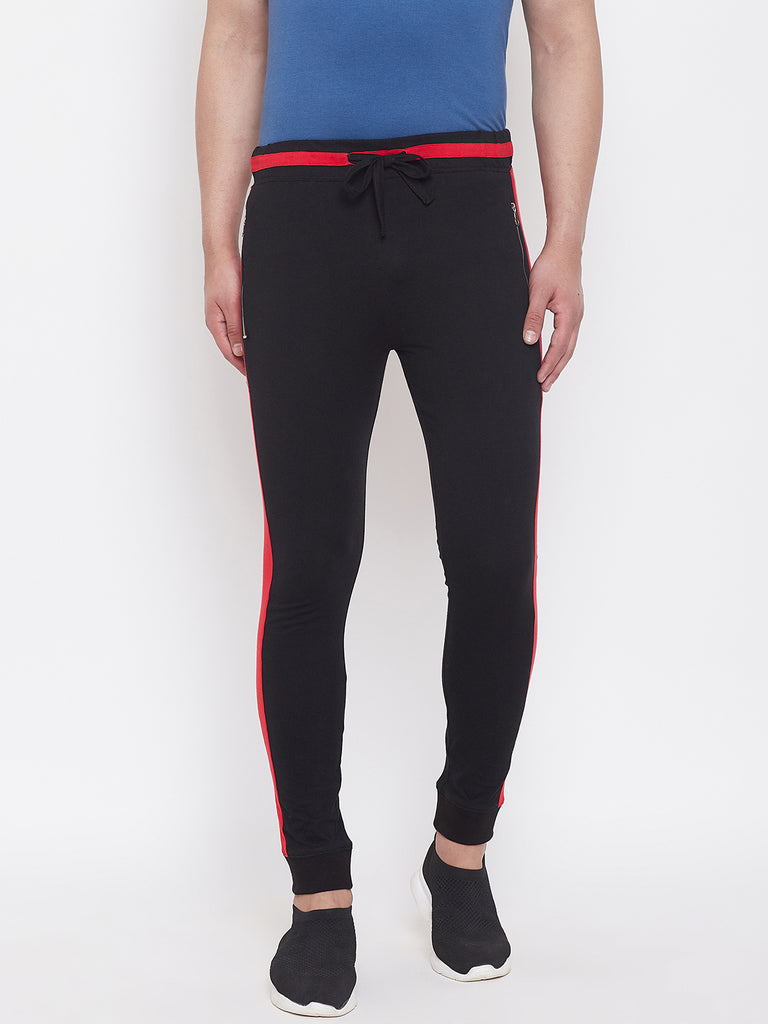Black/Red Slim Fit Mid - Rise Joggers With Zipped Pocket'S