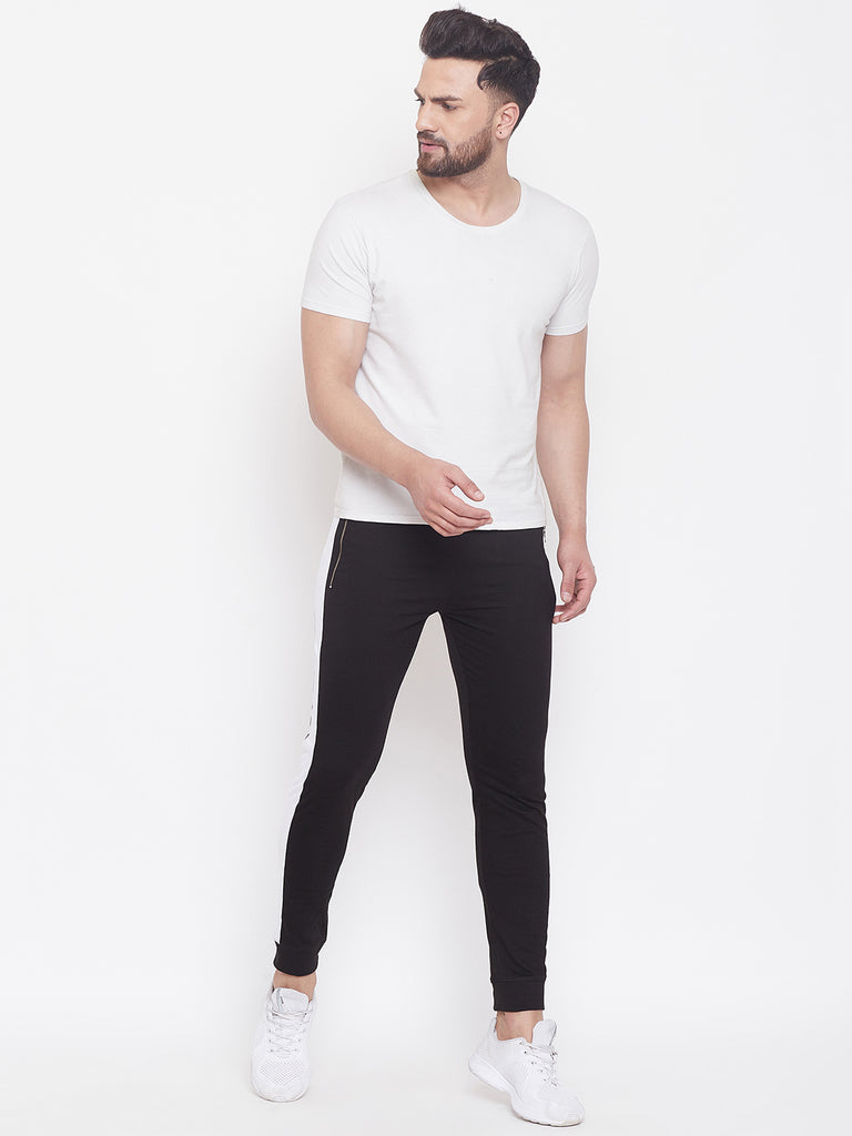 Black/White Slim Fit Mid - Rise Joggers With Zipped Pocket'S