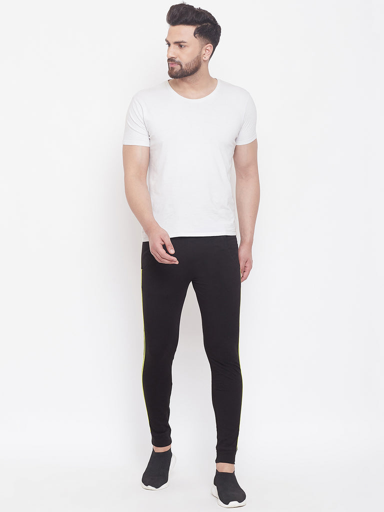 Black/Nion Green Mid - Rise Slim Fit Joggers With Contrast Taping