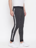 Black Slim Fit Striped Joggers With Contrast Taping