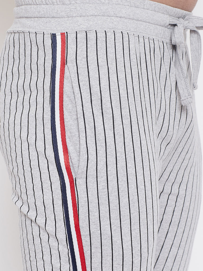 Grey Melange Slim Fit Striped Joggers With Contrast Taping