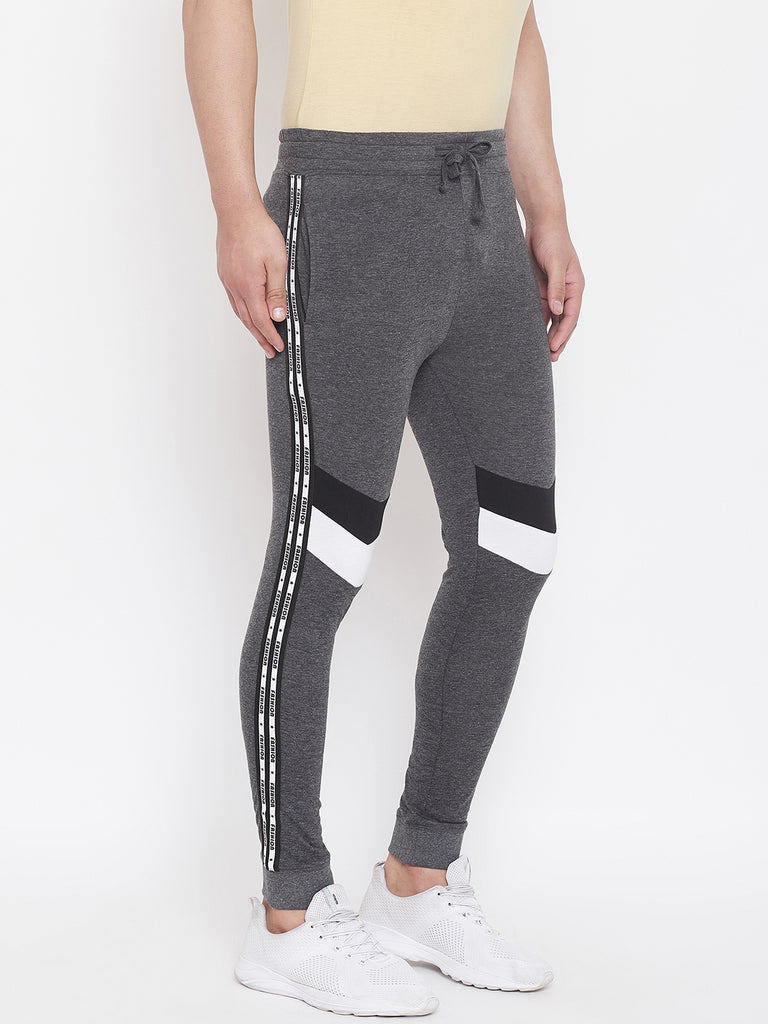 Anthramelange/Black/White Men'S Slim Fit Joggers With Color Block Side Taping