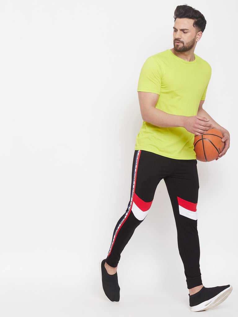 Black/Red/White Men'S Slim Fit Joggers With Color Block Side Taping