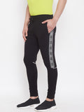Black Mid - Rise Slim Fit Joggers With Contrast Taping