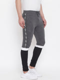 Anthramelange/Black/White Mid - Rise Slim Fit Joggers With Color Block