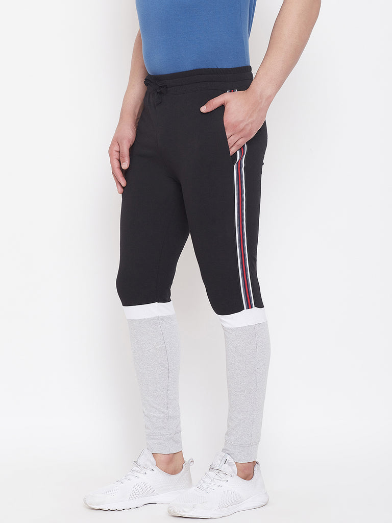 Black/Grey Melange/White Mid - Rise Slim Fit Joggers With Color Block