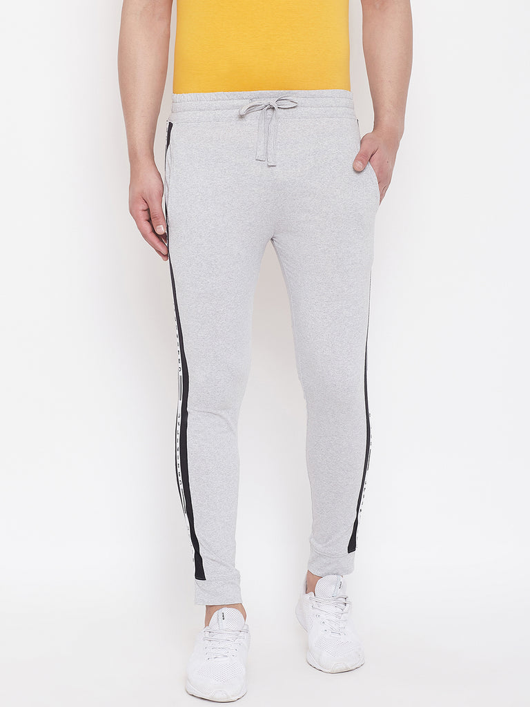 Grey Melange/Black Men'S Slim Fit Joggers With Color Block Side Taping