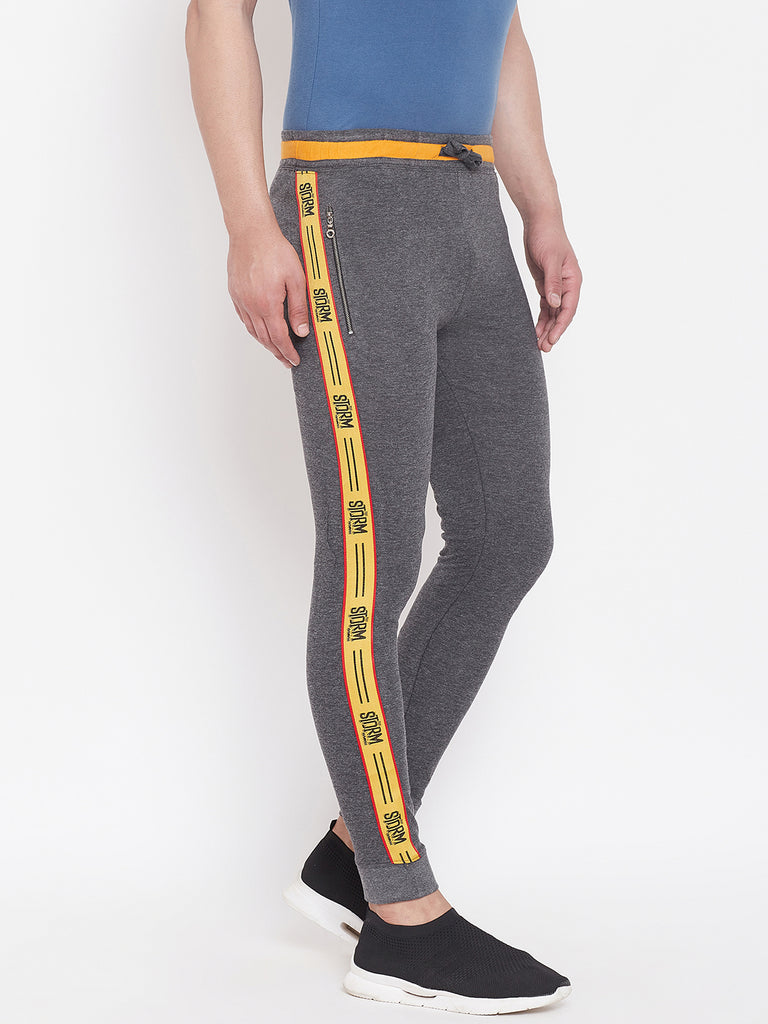 Anthramenlage/Yellow Men'S Slim Fit Jogger'S With Zipped Pocket'S