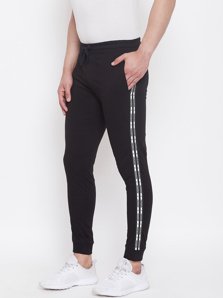 Black Slim Fit Joggers With Side Taping