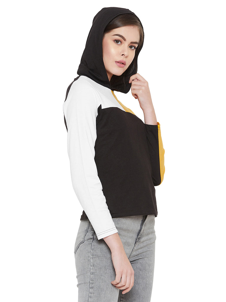 Gritstones White/Yellow Full Sleeves Color Block Hooded Top