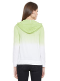 Gritstones White/Green Full Sleeves Ombre Dyed Hooded T-Shirt