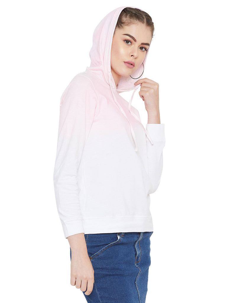 Gritstones White/Pink Full Sleeves Ombre Dyed Hooded T-Shirt