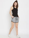 Grey Melange Mouse Face Printed Shorts