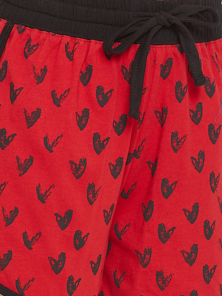 Red Heart Printed Shorts
