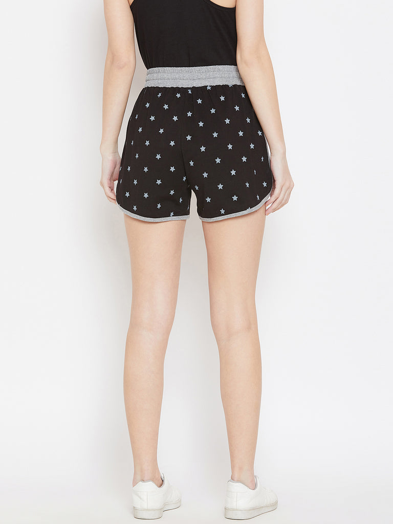 Black/Grey Melange Printed Shorts
