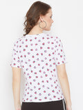 White Half Sleeve Round Neck Printed Top