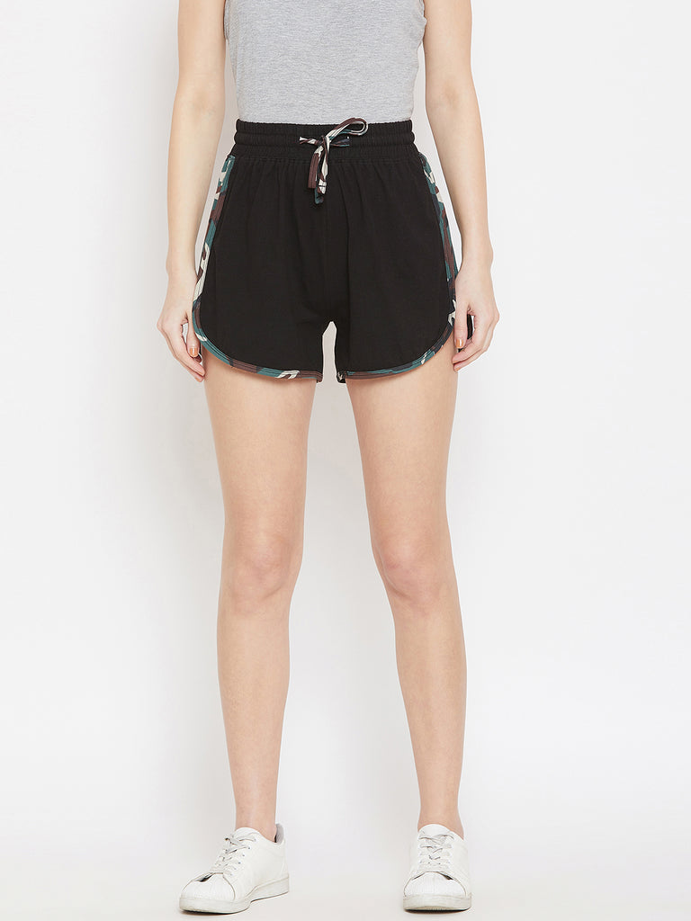 Black/Army Printed Shorts