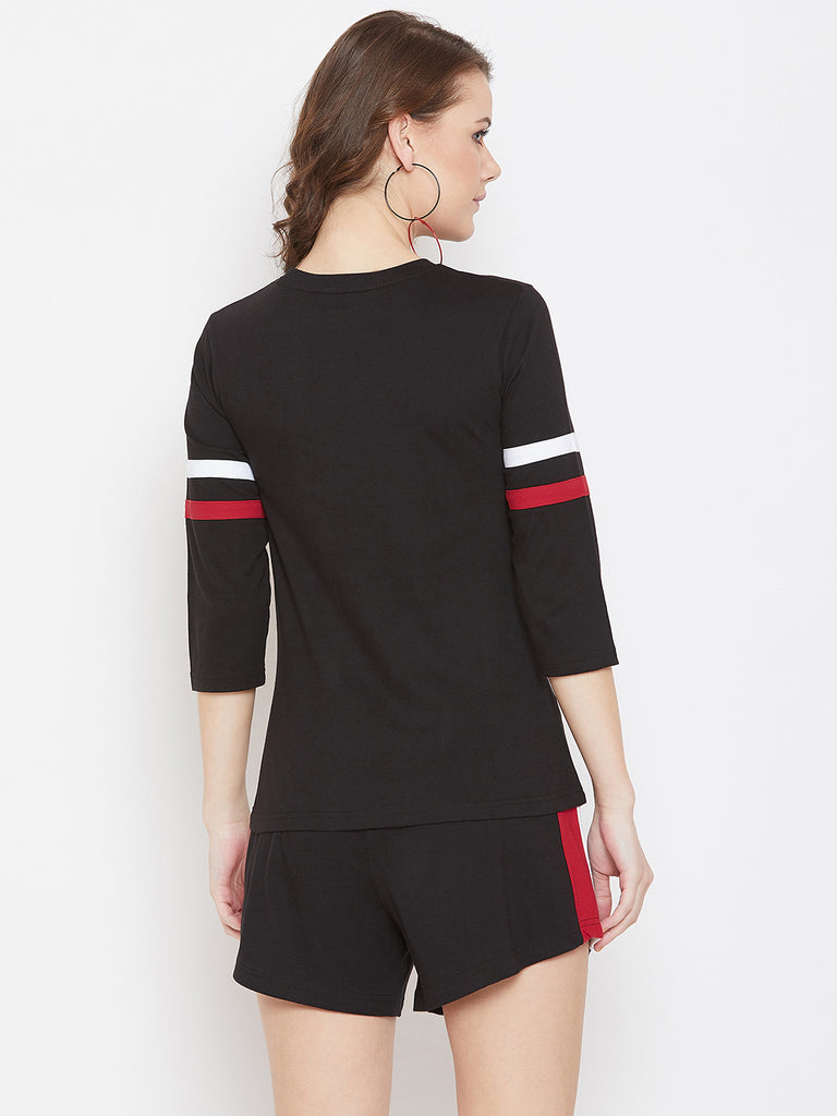Black/White/Red Stripe T-shirt and Short Set