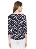 Gritstones Dark Navy 3/4 Sleeves Flower Printed Boat Neck Top