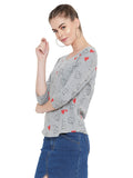 Gritstones Grey Melange 3/4 Sleeves Heart Printed Boat Neck Top