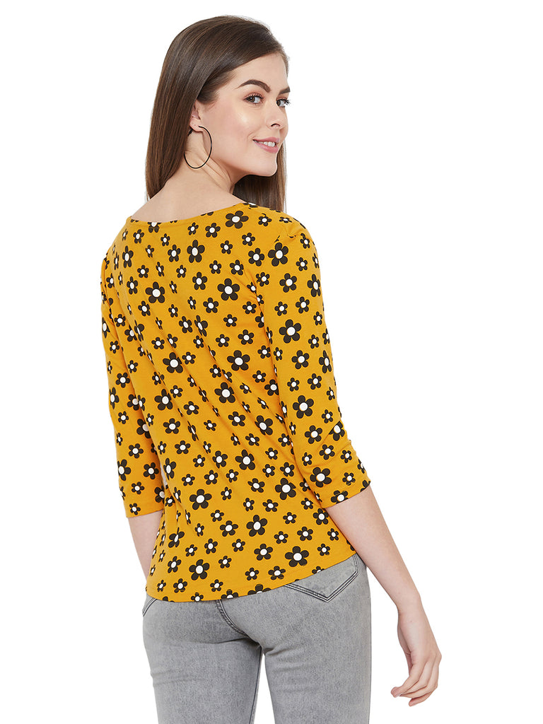 Gritstones Yellow/Black 3/4 Sleeves Flower Printed Boat Neck Top
