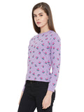Gritstones Purple Full Sleeves Watermelon Printed Full Sleeves T-Shirt