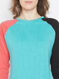 Persian Green/Black/Coral Full Slleve Round Neck Top
