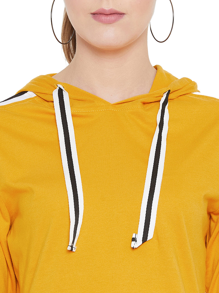 Gritstones Yellow/White/Black Full Sleeves Side Taping Hooded T-Shirt