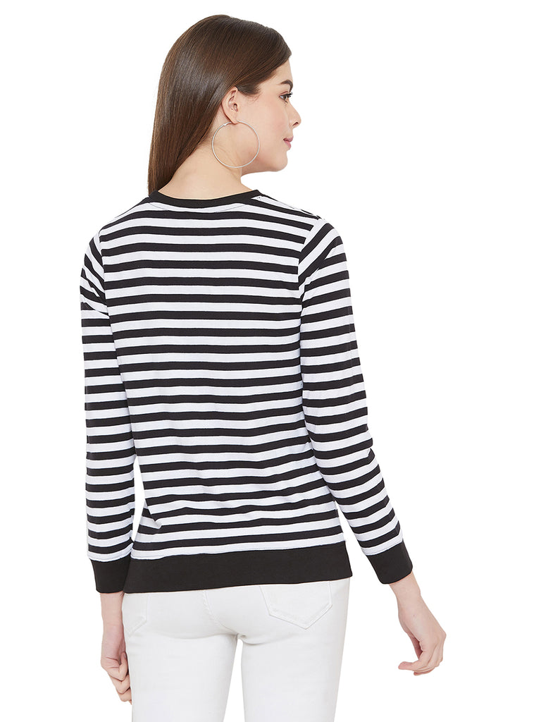 Gritstones White/Black Full Sleeves Striper Full Sleeves T-Shirt
