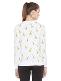 Gritstones White Full Sleeves Giraffe Printed Full Sleeves T-Shirt