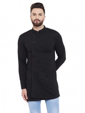 Gritstones Black Solid Chinese Collar Full Sleeves Kurta