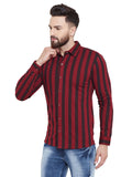 Gritstones Maroon/Black Printed Regular Collar Full Sleeves Shirt