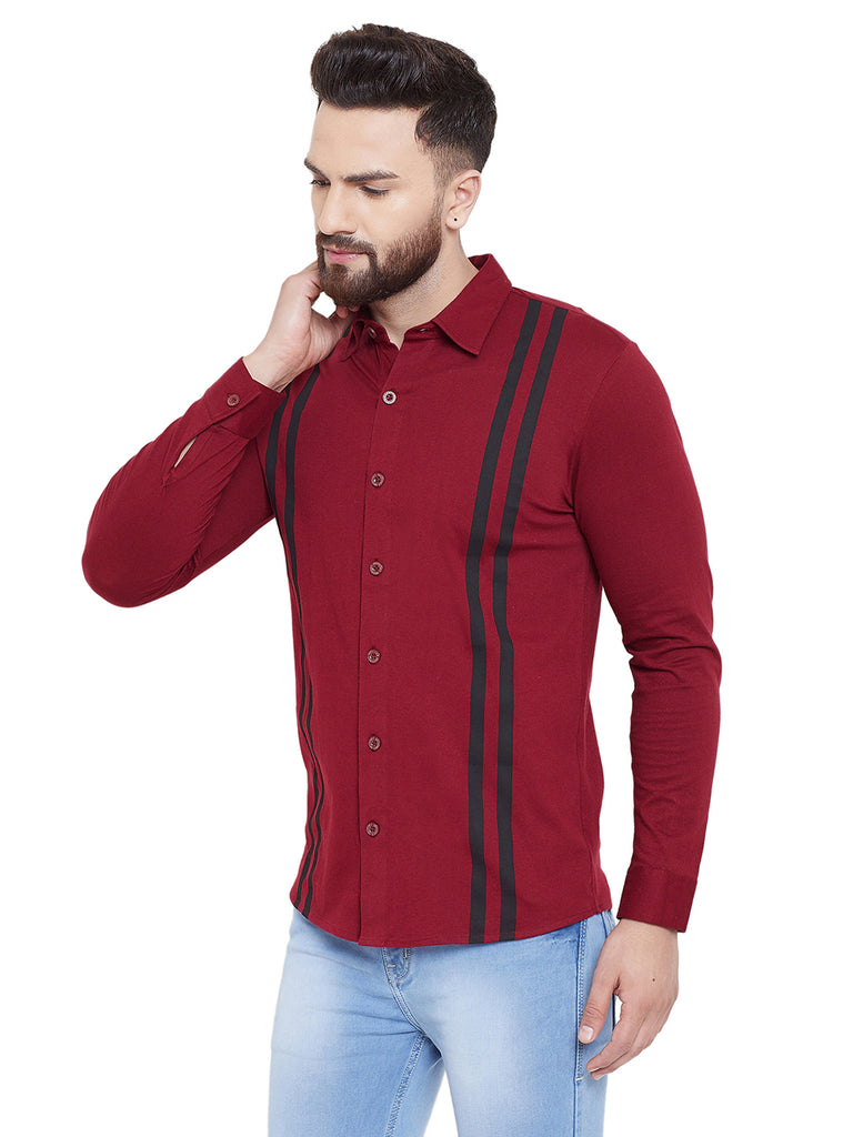 Gritstones Maroon Printed Regular Collar Full Sleeves Shirt