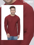 Maroon Full Sleeves Waffle Knit Crew Neck Side Button T-Shirt