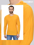 Yellow Full Sleeves Waffle Knit Crew Neck Side Button T-Shirt