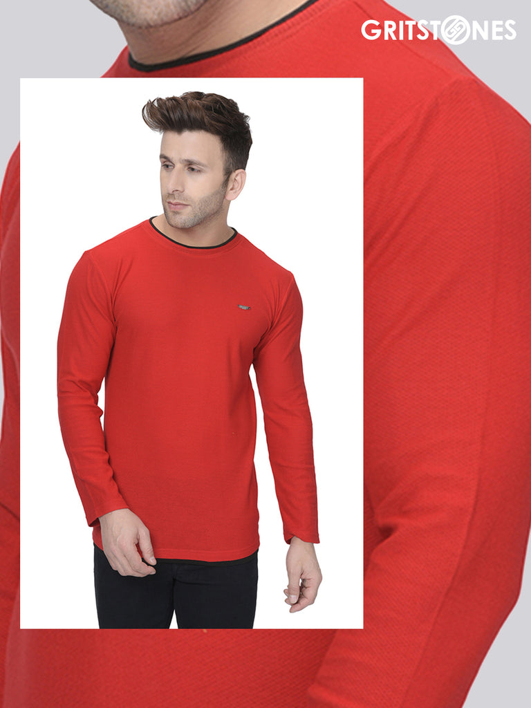 Red Full Sleeves Waffle Knit Crew Neck with Black Contrast Piping T-Shirt