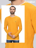 Yellow Full Sleeves Waffle Knit Crew Neck with White Contrast Piping T-Shirt