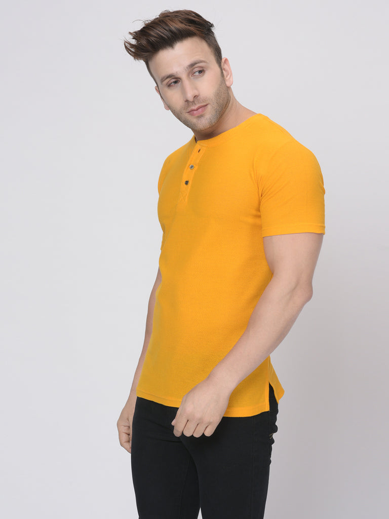 Yellow Half Sleeves Waffle Knit Henley Neck T-Shirt