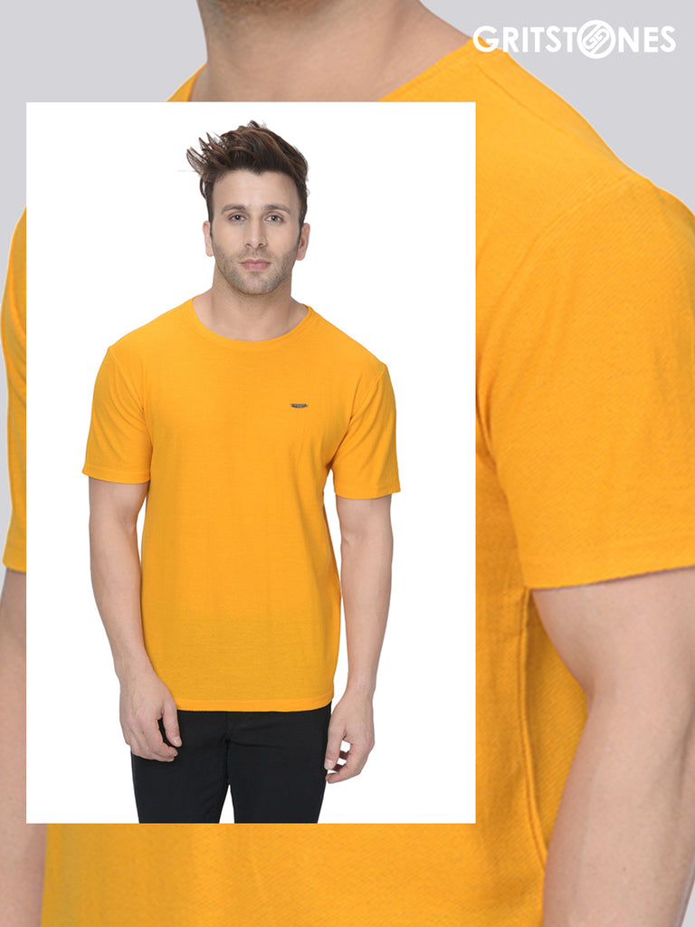 Yellow Half Sleeves Waffle Knit Round Neck T-Shirt