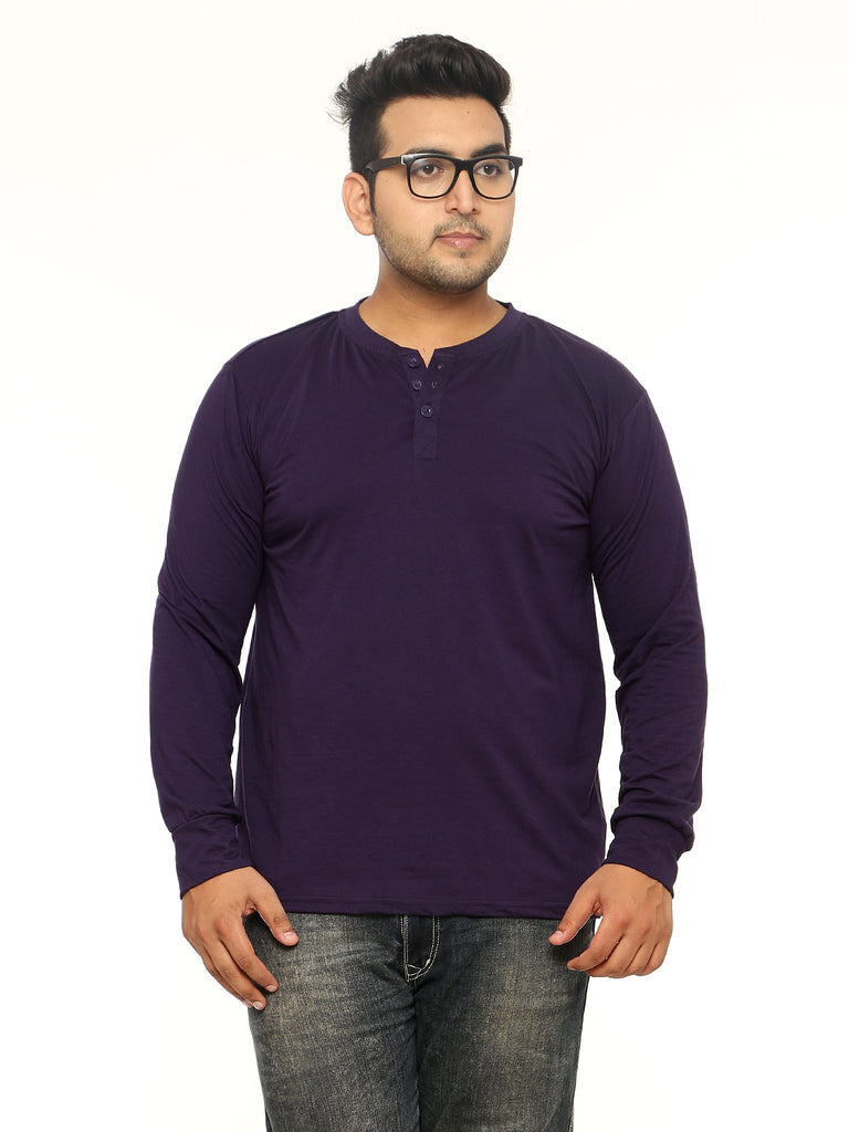 Navy Blue Plus Size Henley T-Shirt