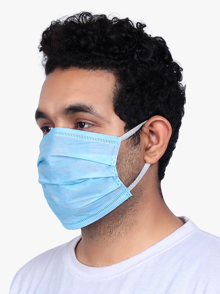 Gritstones Unisex 3 Ply Non Woven Anti Pollution Surgical Mask- Pack of 100