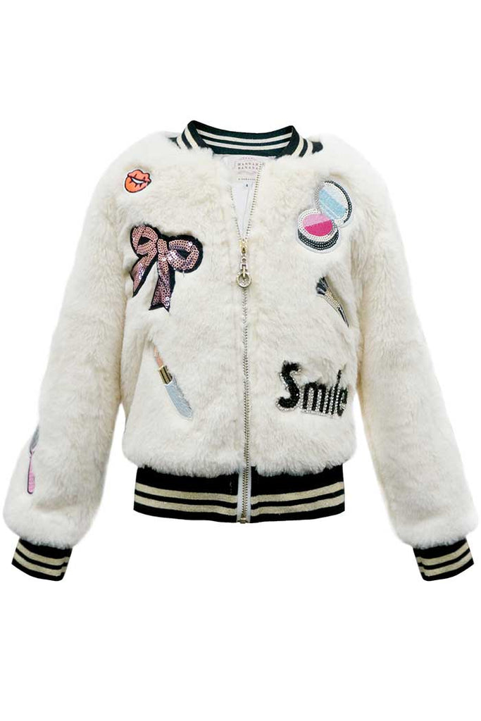 Hannah Banana girls white faux fur bomber jacket with playful patches